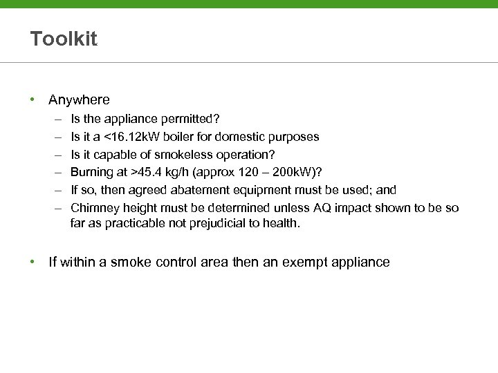 Toolkit • Anywhere – – – Is the appliance permitted? Is it a <16.
