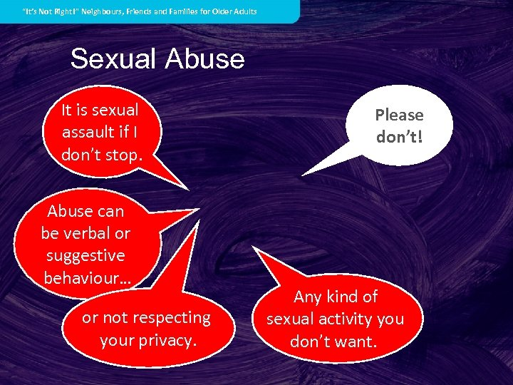 """""""It's Not Right!"""" Neighbours, Friends and Families for Older Adults Sexual Abuse It is"""