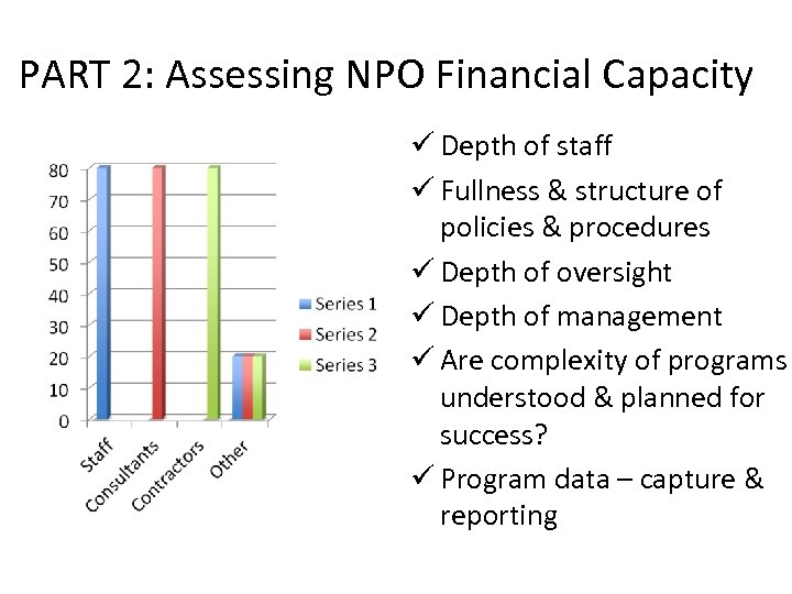 PART 2: Assessing NPO Financial Capacity ü Depth of staff ü Fullness & structure