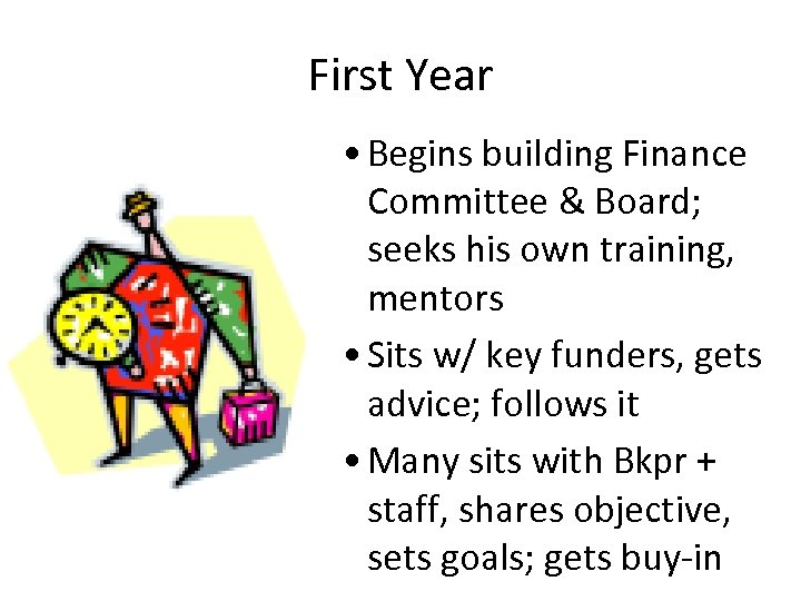 First Year • Begins building Finance Committee & Board; seeks his own training, mentors