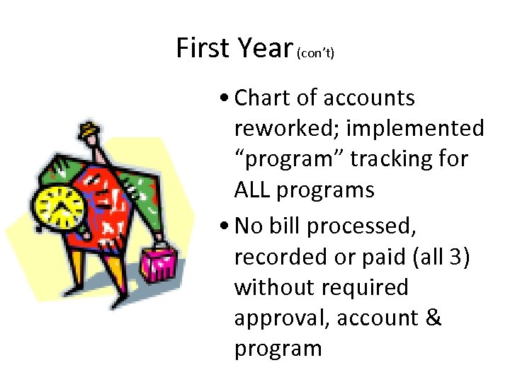"First Year (con't) • Chart of accounts reworked; implemented ""program"" tracking for ALL programs"