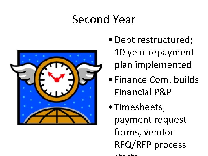 Second Year • Debt restructured; 10 year repayment plan implemented • Finance Com. builds