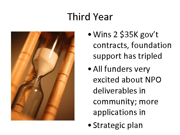 Third Year • Wins 2 $35 K gov't contracts, foundation support has tripled •