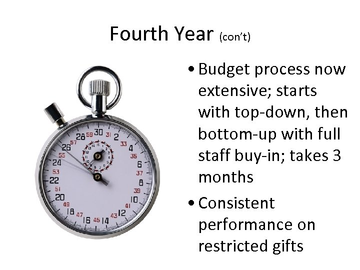 Fourth Year (con't) • Budget process now extensive; starts with top-down, then bottom-up with