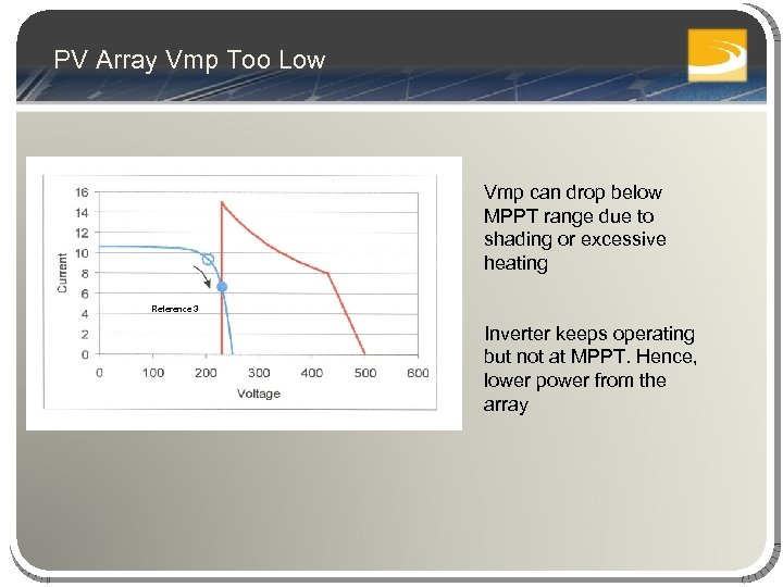 PV Array Vmp Too Low Vmp can drop below MPPT range due to shading