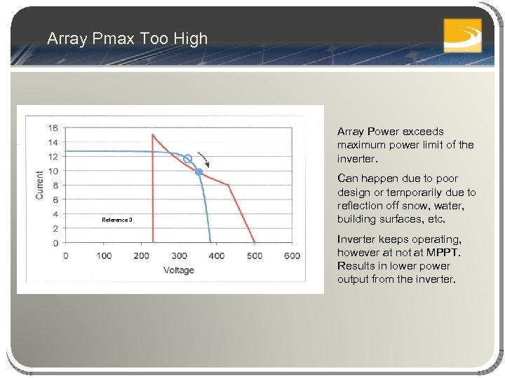 Array Pmax Too High Array Power exceeds maximum power limit of the inverter. Reference