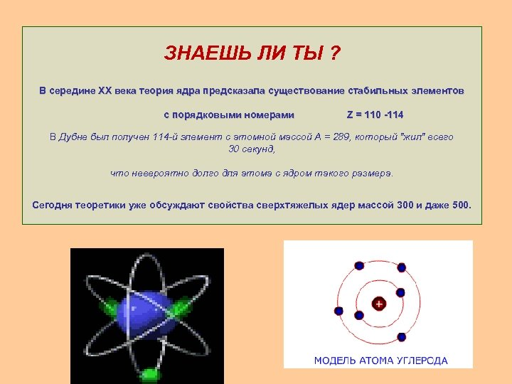 ЗНАЕШЬ ЛИ ТЫ ? В середине XX века теория ядра предсказала существование стабильных элементов