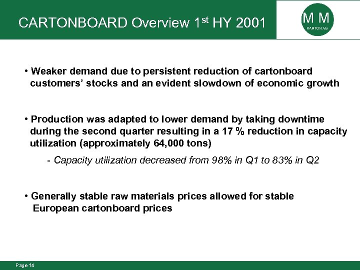CARTONBOARD Overview 1 st HY 2001 • Weaker demand due to persistent reduction of