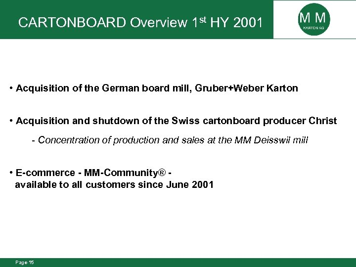 CARTONBOARD Overview 1 st HY 2001 • Acquisition of the German board mill, Gruber+Weber