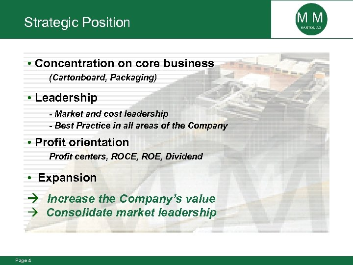 Strategic Position Concentration on core business (Cartonboard, Packaging) Leadership - Market and cost leadership