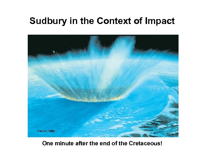 Sudbury in the Context of Impact French, 1998 One minute after the end of