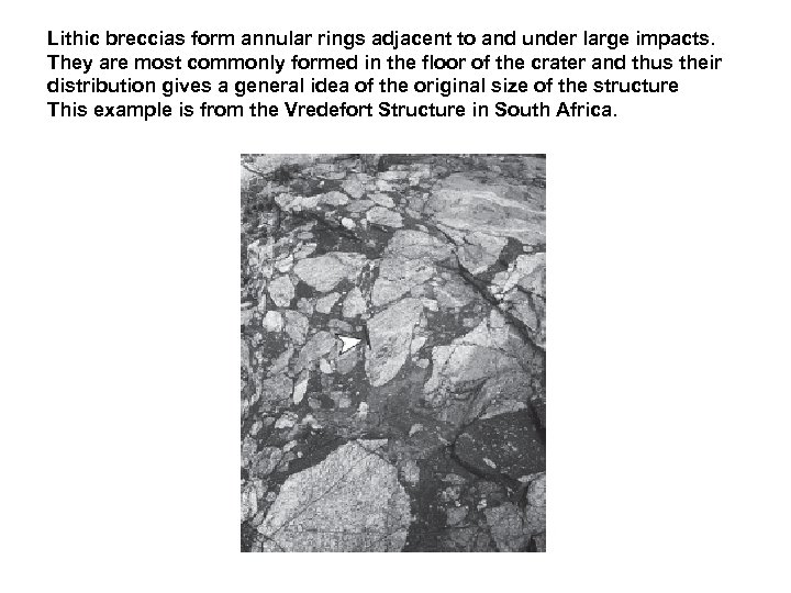 Lithic breccias form annular rings adjacent to and under large impacts. They are most
