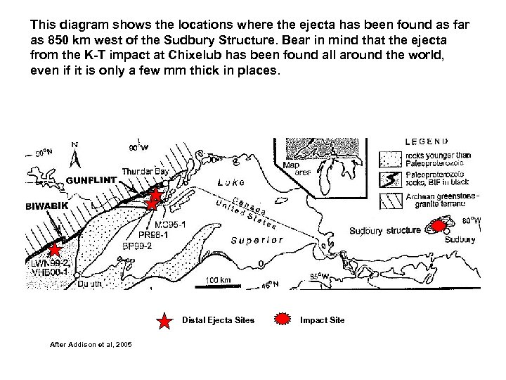 This diagram shows the locations where the ejecta has been found as far as