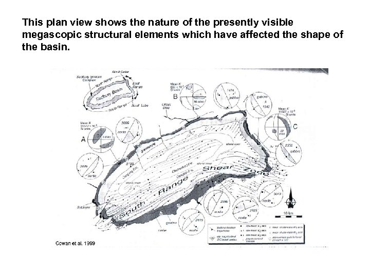 This plan view shows the nature of the presently visible megascopic structural elements which