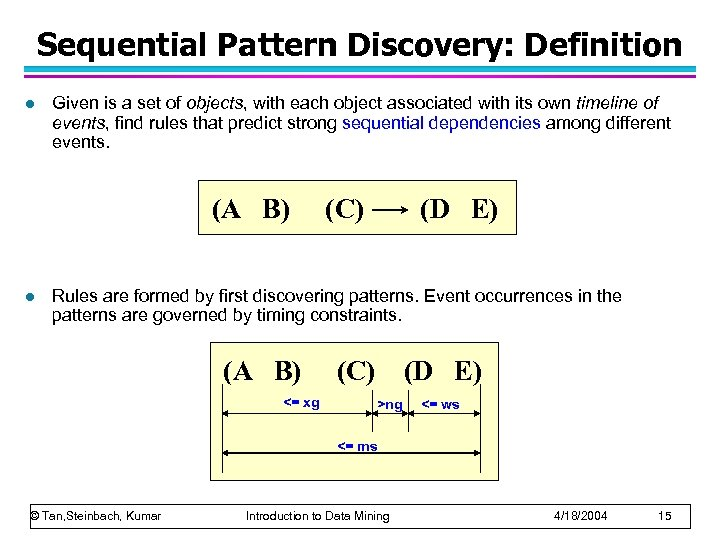 Sequential Pattern Discovery: Definition l Given is a set of objects, with each object