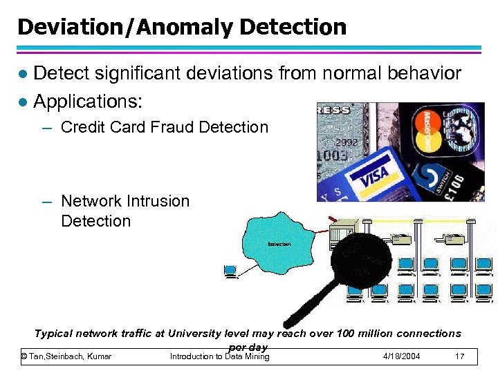 Deviation/Anomaly Detection Detect significant deviations from normal behavior l Applications: l – Credit Card