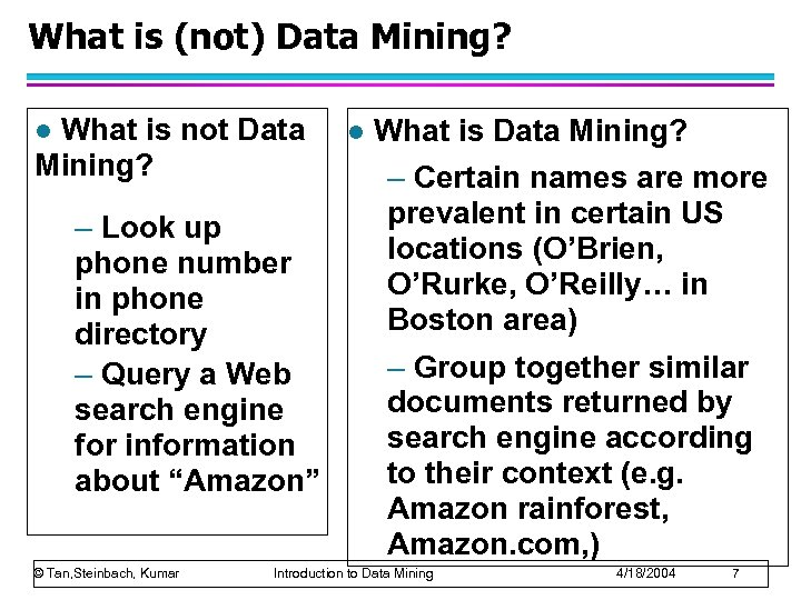 What is (not) Data Mining? What is not Data Mining? l – Look up