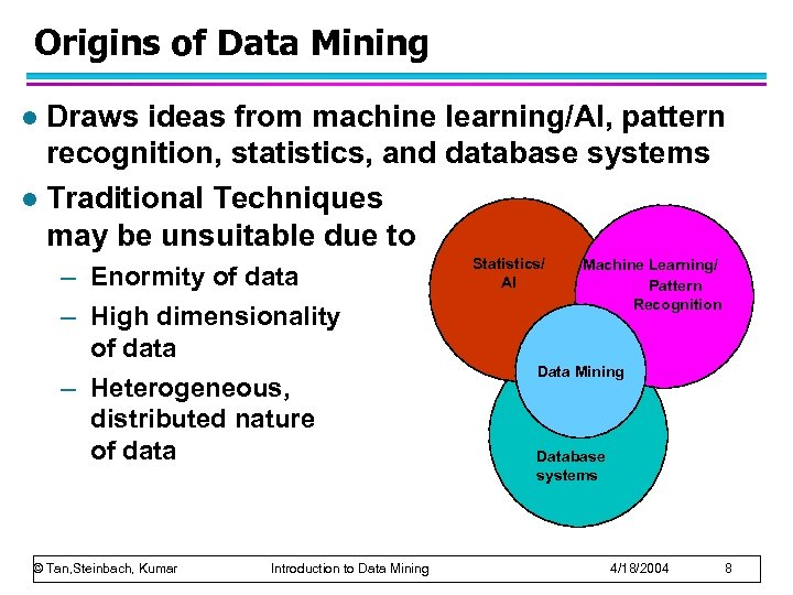 Origins of Data Mining Draws ideas from machine learning/AI, pattern recognition, statistics, and database