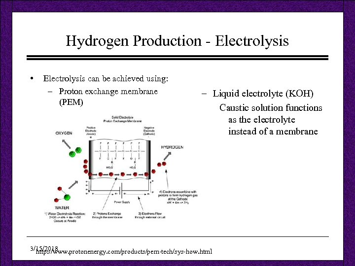 Hydrogen Production - Electrolysis • Electrolysis can be achieved using: – Proton exchange membrane