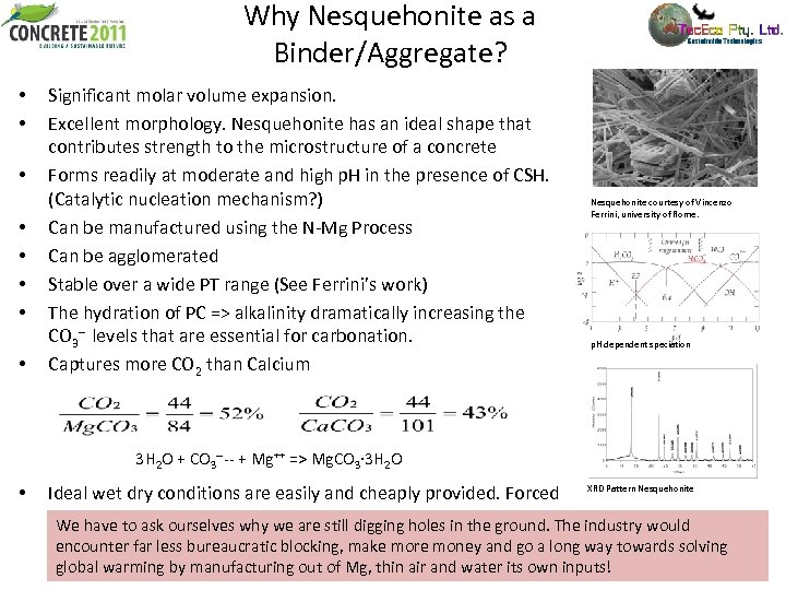Why Nesquehonite as a Binder/Aggregate? • • Significant molar volume expansion. Excellent morphology. Nesquehonite