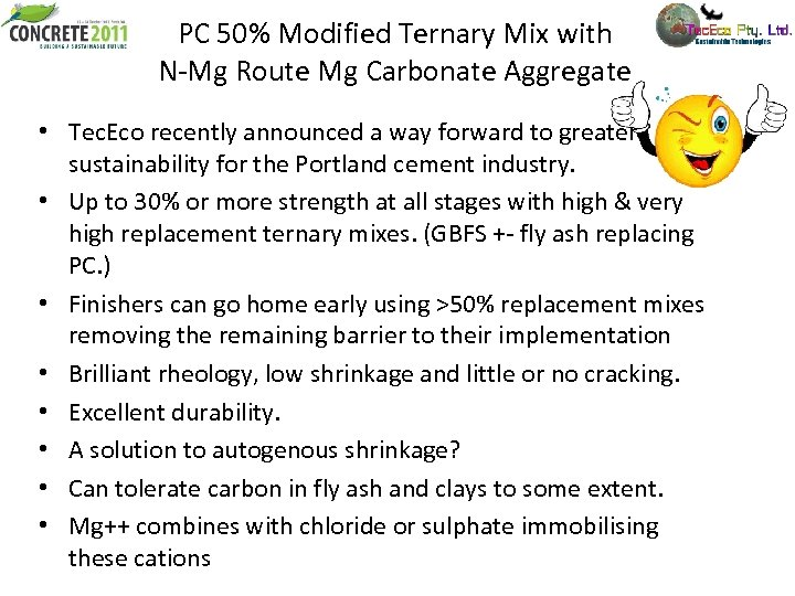 PC 50% Modified Ternary Mix with N-Mg Route Mg Carbonate Aggregate • Tec. Eco