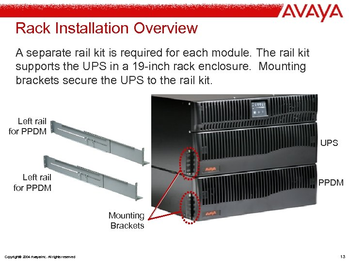 Rack Installation Overview A separate rail kit is required for each module. The rail