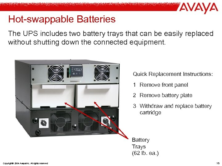 Hot-swappable Batteries The UPS includes two battery trays that can be easily replaced without