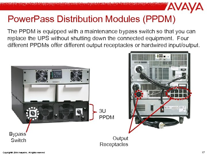 Power. Pass Distribution Modules (PPDM) The PPDM is equipped with a maintenance bypass switch