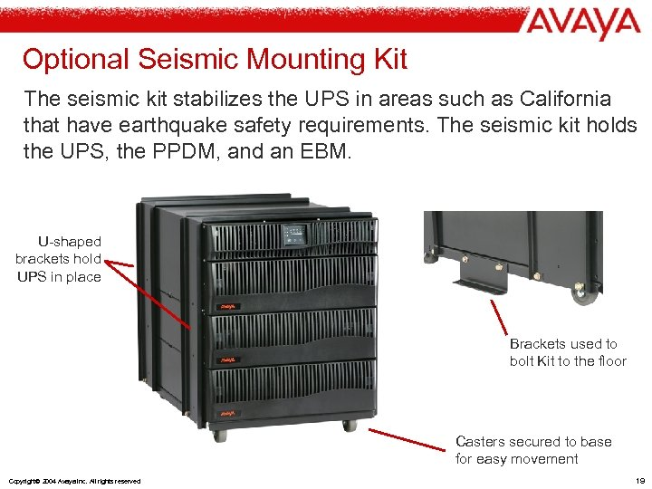 Optional Seismic Mounting Kit The seismic kit stabilizes the UPS in areas such as