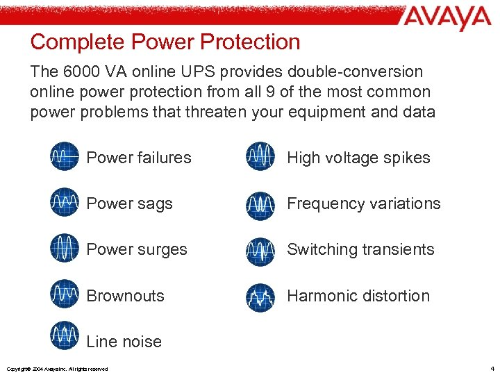 Complete Power Protection The 6000 VA online UPS provides double-conversion online power protection from
