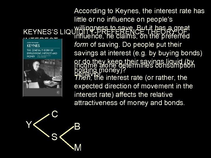 According to Keynes, the interest rate has little or no influence on people's willingness