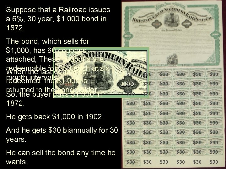 Suppose that a Railroad issues a 6%, 30 year, $1, 000 bond in 1872.