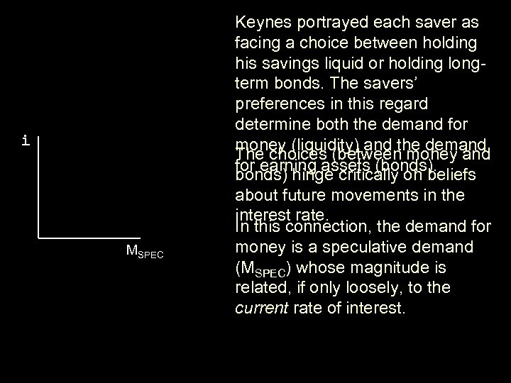 i MSPEC Keynes portrayed each saver as facing a choice between holding his savings