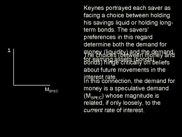 i MSPEC Keynes portrayed each saver as facing a choice between holding his savings