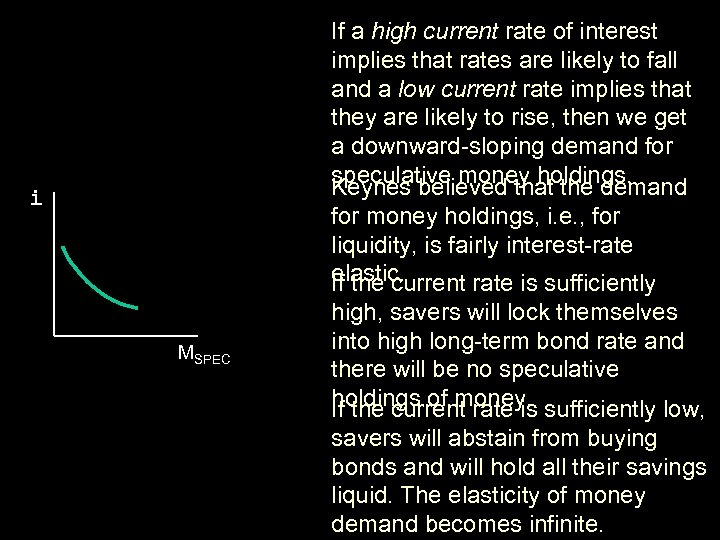 If a high current rate of interest implies that rates are likely to fall