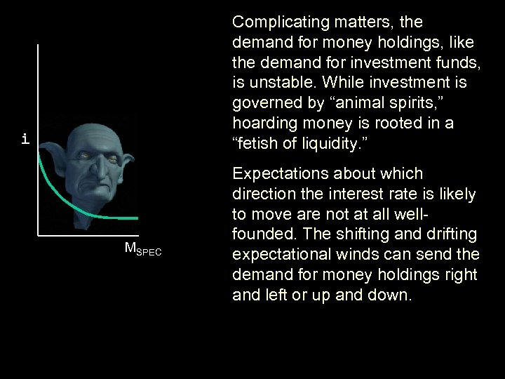 Complicating matters, the demand for money holdings, like the demand for investment funds, is