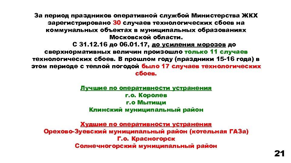 За период праздников оперативной службой Министерства ЖКХ зарегистрировано 30 случаев технологических сбоев на коммунальных