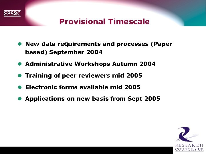 Provisional Timescale l New data requirements and processes (Paper based) September 2004 l Administrative