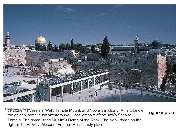 Jerusalem's Western Wall, Temple Mount, and Noble Sanctuary. At left, below the golden dome