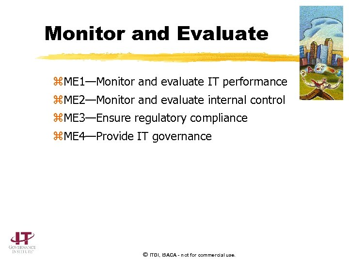Monitor and Evaluate z. ME 1—Monitor and evaluate IT performance z. ME 2—Monitor and