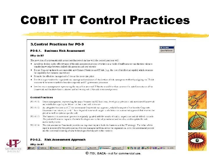 COBIT IT Control Practices © ITGI, ISACA - not for commercial use.