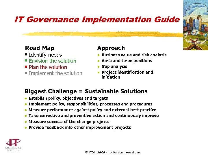 IT Governance Implementation Guide Road Map • Identify needs • Envision the solution •