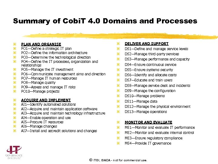 Summary of Cobi. T 4. 0 Domains and Processes z z z PLAN AND
