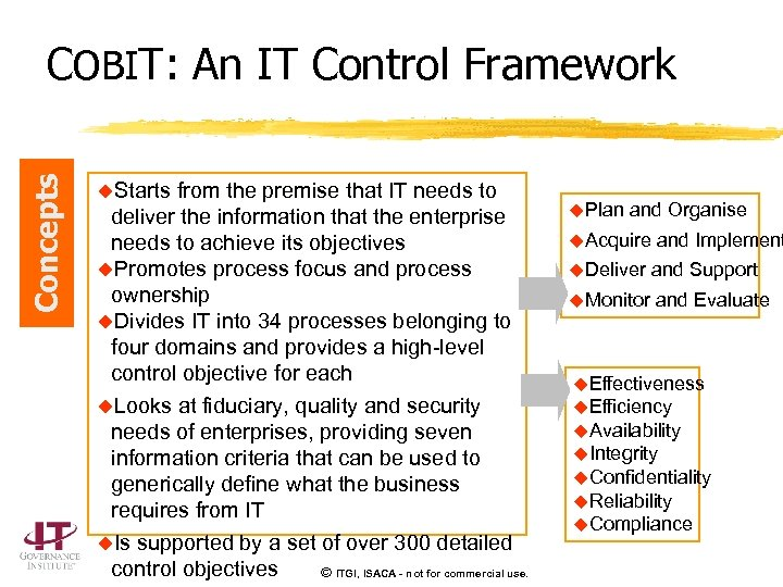 Concepts COBIT: An IT Control Framework u. Starts from the premise that IT needs
