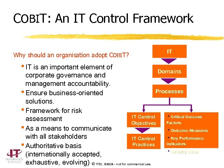 COBIT: An IT Control Framework Why should an organisation adopt COBIT? • IT is