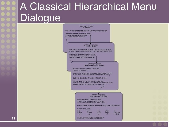 A Classical Hierarchical Menu Dialogue 11