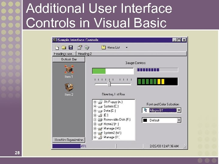 Additional User Interface Controls in Visual Basic 28