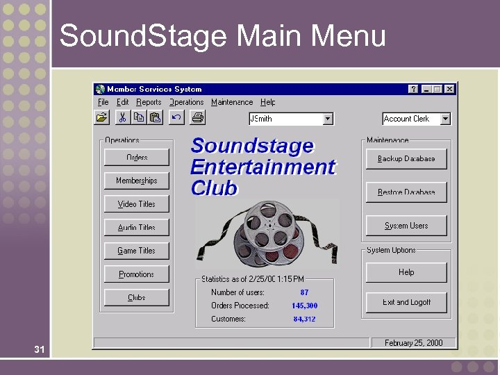 Sound. Stage Main Menu 31