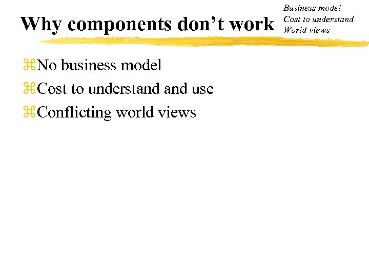 Why components don't work z. No business model z. Cost to understand use z.