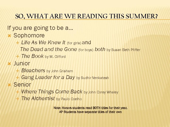 SO, WHAT ARE WE READING THIS SUMMER? If you are going to be a…